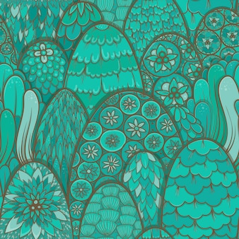 Stylized seamless pattern with turquoise trees and bushes. botanical background. asian theme