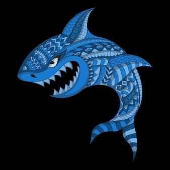 Stylized shark in ethnic style