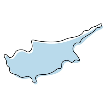 Stylized simple outline map of cyprus icon. blue sketch map of cyprus vector illustration