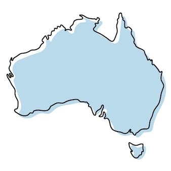 Стилизованная карта простой схемы значка австралии. синий эскиз карта австралии векторные иллюстрации