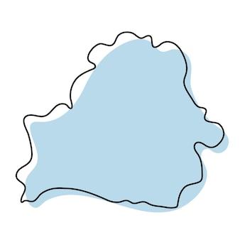 ベラルーシのアイコンの様式化されたシンプルな白地図。ベラルーシのベクトル図の青いスケッチマップ