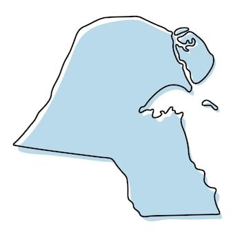 쿠웨이트 아이콘의 양식된 간단한 개요 지도입니다. 쿠웨이트 벡터 일러스트 레이 션의 블루 스케치 지도