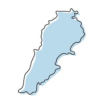 레바논 아이콘의 양식된 간단한 개요 지도입니다. 레바논 벡터 일러스트 레이 션의 파란색 스케치 지도