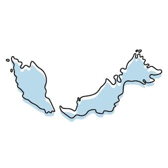 Стилизованная карта простой схемы значка малайзии. синий эскиз карта малайзии векторные иллюстрации
