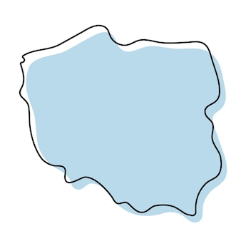 폴란드 아이콘의 양식된 간단한 개요 지도입니다. 폴란드 벡터 일러스트 레이 션의 파란색 스케치 지도