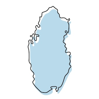カタールのアイコンの様式化されたシンプルな白地図。カタールのベクトル図の青いスケッチマップ