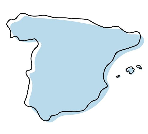 스페인 아이콘의 양식된 간단한 개요 지도입니다. 스페인 벡터 일러스트 레이 션의 파란색 스케치 지도