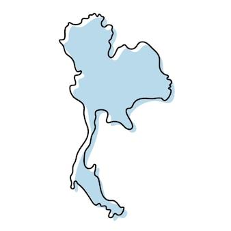 태국 아이콘의 양식된 간단한 개요 지도입니다. 태국 벡터 일러스트 레이 션의 파란색 스케치 지도