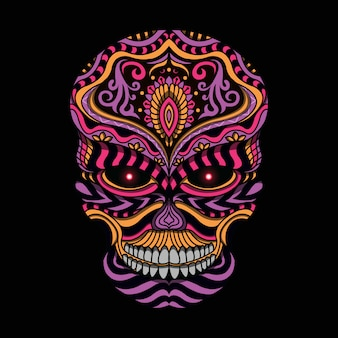 Stylized skull in ethnic style