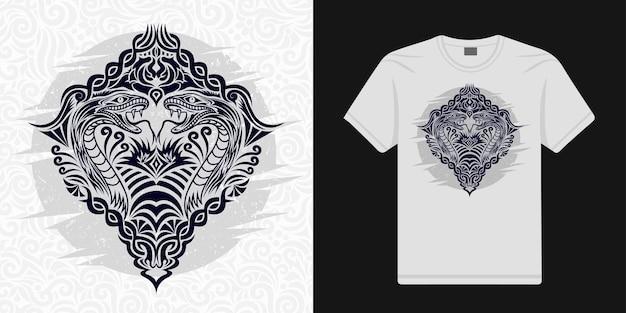 민족 벡터의 양식화된 뱀 꽃무늬는 티셔츠에 사용할 수 있습니다.