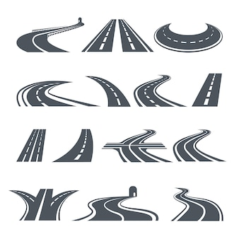 Stylized symbols of road and highway.
