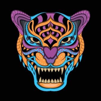 Стилизованный тигр в этническом векторе