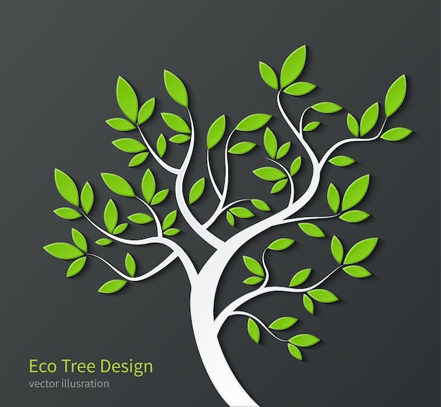 Stylized tree with branches and green leaves isolated on dark background.