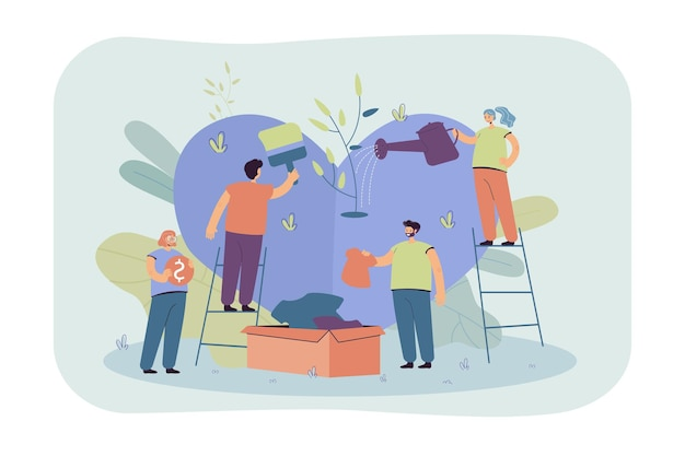 Stylized volunteer team giving care and sharing hope isolated flat illustration. cartoon group of characters helping poor people with social support and money
