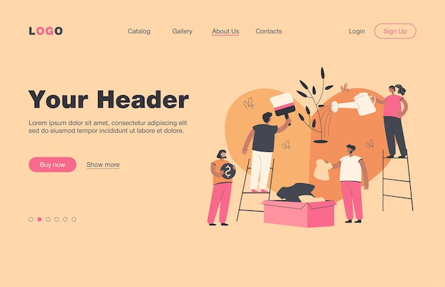 Stylized volunteer team giving care and sharing hope isolated flat  landing page. cartoon group of characters helping poor people with social support and money. charity and donation concept