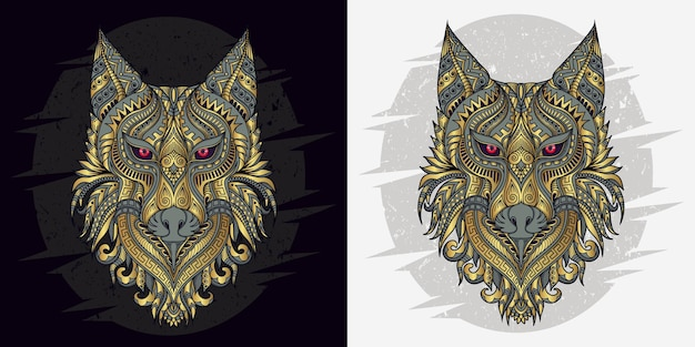 Stylized wolf in ethnic vector black and white background