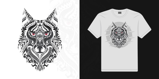 Stylized wolf in ethnic vector white background