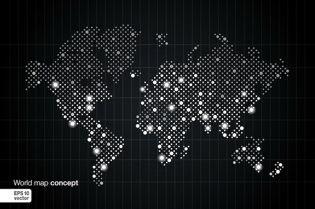Stylized world map concept with biggest cities. globes business background. night view with spot lights.  illustration.