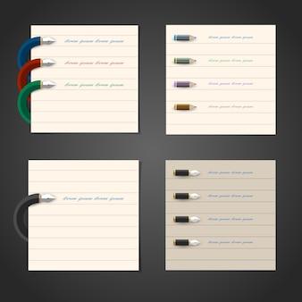 インフォグラフィック、ビジネスデザイン、webデザインの様式化されたライティングペンと鉛筆デザイン