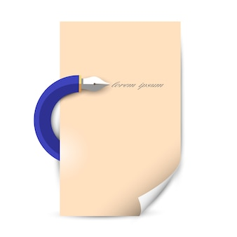 Stylized writing pen with blank paper sheet