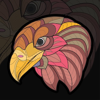 様式化されたzentangle動物ぬりえワシ鳥イラスト