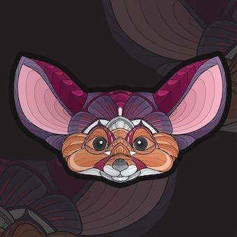 Стилизованная раскраска животных zentangle лиса фенек иллюстрация