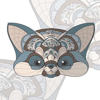 Стилизованный zentangle животное раскраска лиса иллюстрация