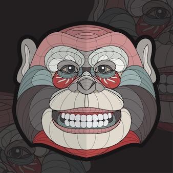 Stylized zentangle animal coloring monkey illustration
