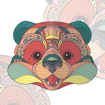 様式化されたzentangle動物ぬりえパンダイラスト
