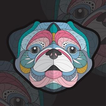 Стилизованный zentangle животных раскраски иллюстрации мопса