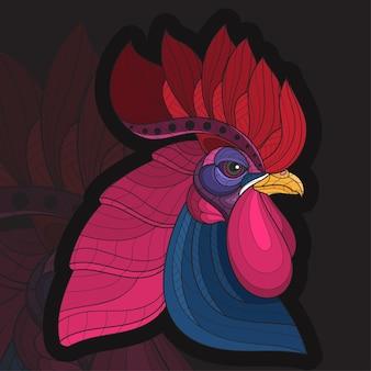 Стилизованная раскраска животных в стиле zentangle петух иллюстрация