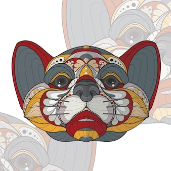 Stylized zentangle animal coloring tiger illustration