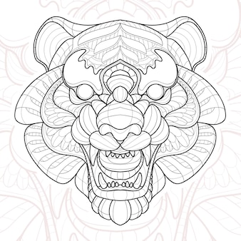 양식에 일치시키는 zentangle 동물 선화 호랑이 그림