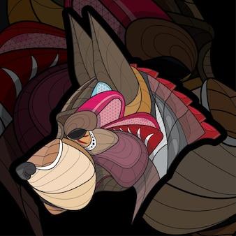 양식된 zentangle 색칠 동물 큰 개 그림