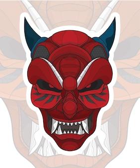 양식화된 zentangle 색칠 중국 악마 마스크 그림