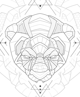 양식된 zentangle 라인 아트 동물 팬더 그림