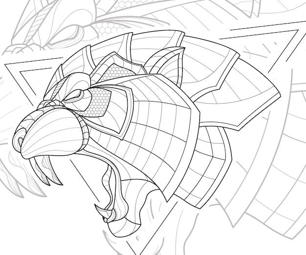 양식된 zentangle 라인 아트 동물 호랑이 그림