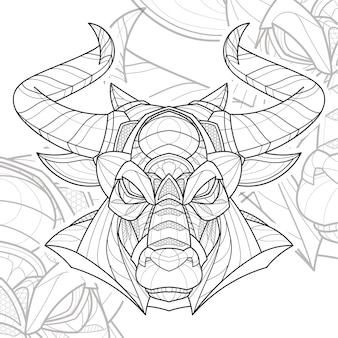 Стилизованный zentangle lineart животных иллюстрации быков