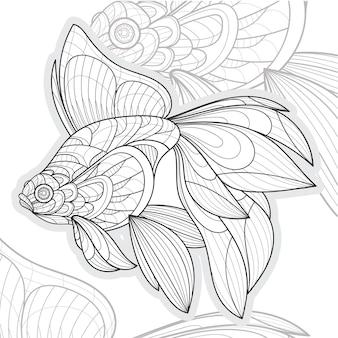 Stylized zentangle lineart animal koi fish illustration