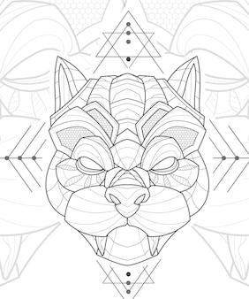 양식에 일치시키는 zentangle lineart 동물 퍼그 개 그림