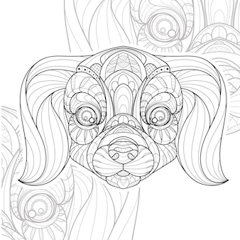 Stylized zentangle lineart animal puppy dog illustration