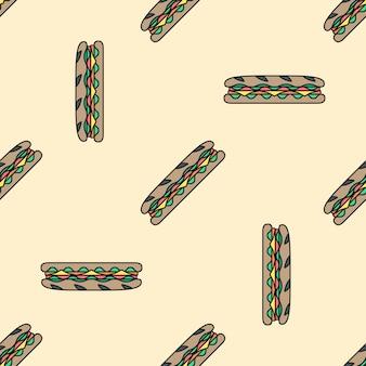 Sub бутерброд цветные бесшовные модели
