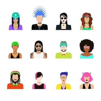 Набор иконок концепции прически субкультуры. мужчина и женщина представители стилей жизни иллюстрации. панк, гот-рок, эмо-хипстер, рэпер, татуированный взглядом, шляпа, дреды, повязка на голову, шипы, прическа