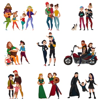 Subcultures families cartoon set