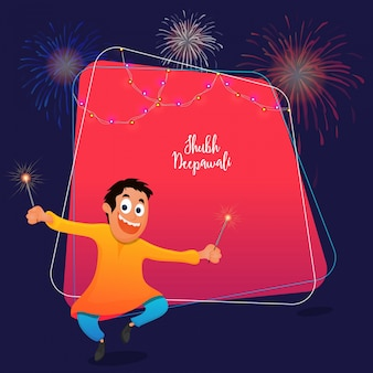 Subh diwali celebrations concept with happy kid holding firecrakes on pink and blue background.