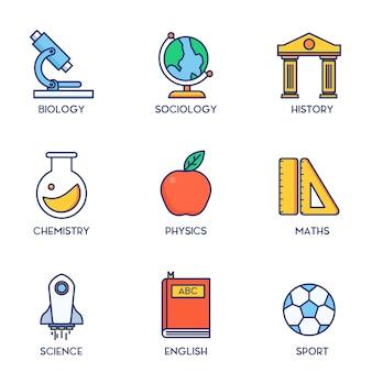 Subject education set line icon