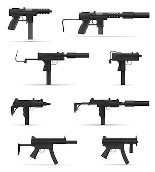 Пистолет-пулемет оружие на белом