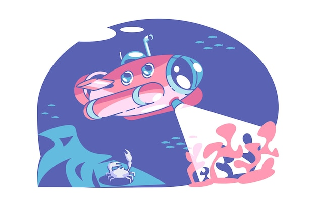 潜水艦と魚のベクトル図潜望鏡が海面上に拡張された幻想的なレトロな潜水艦フラットスタイル水中風景の概念