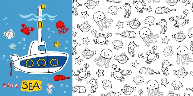 Submarine cartoon with marine animals on seamless pattern