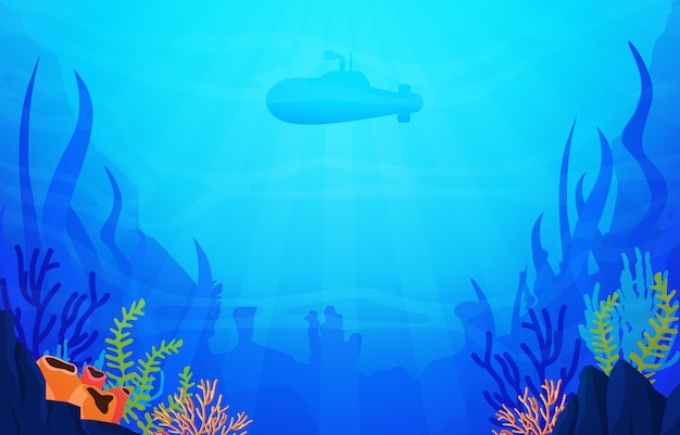 Submarine diving explore coral underwater ocean nature illustration